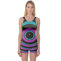 Distorted Concentric Circles Women s Boyleg One Piece Swimsuit by LalyLauraFLM