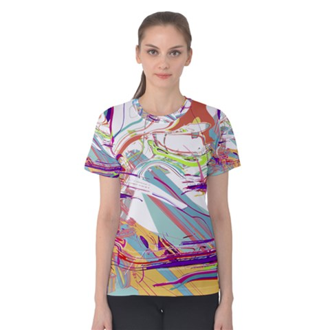 Bezier Splatters | Curved Splines Combine Carefully To Form This Colorful Chaotic Concept  Women s Cotton Tee by FNCYCO