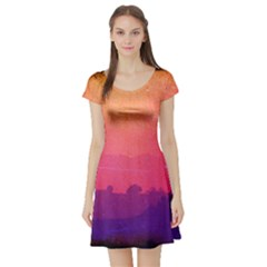 Orange Pink Purple Sunset Short Sleeve Skater Dress by stineshop
