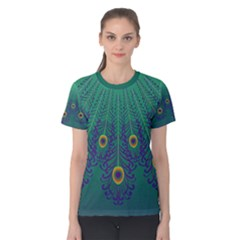 Peacock Emerald Women s Cotton Tee by olgart
