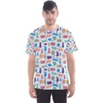 Blue Colorful Cats Silhouettes Pattern Men s Sport Mesh Tees