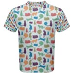 Blue Colorful Cats Silhouettes Pattern Men s Cotton Tees