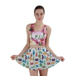 Blue Colorful Cats Silhouettes Pattern Mini Skirts