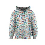 Blue Colorful Cats Silhouettes Pattern Kids Zipper Hoodies