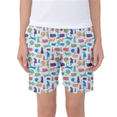 Blue Colorful Cats Silhouettes Pattern Women s Basketball Shorts by Contest580383
