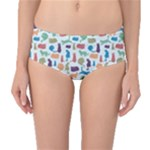 Blue Colorful Cats Silhouettes Pattern Mid-Waist Bikini Bottoms