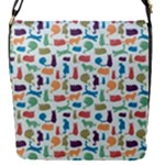 Blue Colorful Cats Silhouettes Pattern Flap Covers (S)