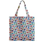 Blue Colorful Cats Silhouettes Pattern Grocery Tote Bags