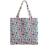 Blue Colorful Cats Silhouettes Pattern Zipper Grocery Tote Bags