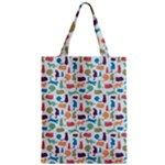 Blue Colorful Cats Silhouettes Pattern Zipper Classic Tote Bags