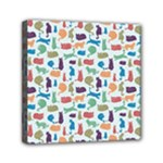 Blue Colorful Cats Silhouettes Pattern Mini Canvas 6  x 6
