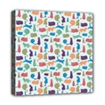 Blue Colorful Cats Silhouettes Pattern Mini Canvas 8  x 8
