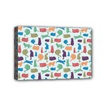Blue Colorful Cats Silhouettes Pattern Mini Canvas 6  x 4