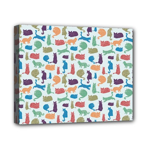 Blue Colorful Cats Silhouettes Pattern Canvas 10  X 8