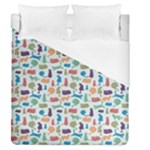 Blue Colorful Cats Silhouettes Pattern Duvet Cover Single Side (Full/Queen Size)