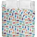 Blue Colorful Cats Silhouettes Pattern Duvet Cover (King Size)