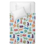 Blue Colorful Cats Silhouettes Pattern Duvet Cover (Single Size)
