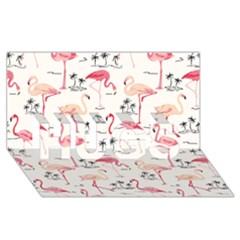 Flamingo Pattern Hugs 3d Greeting Card (8x4)
