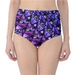 Blue purple Shattered Glass High-Waist Bikini Bottoms