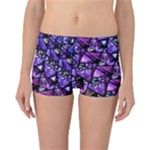 Blue purple Shattered Glass Reversible Boyleg Bikini Bottoms
