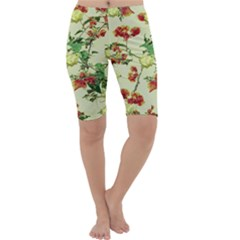 Vintage Style Floral Print Cropped Leggings by dflcprintsclothing
