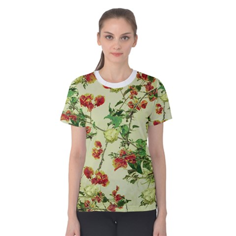 Vintage Style Floral Print Women s Cotton Tees by dflcprintsclothing