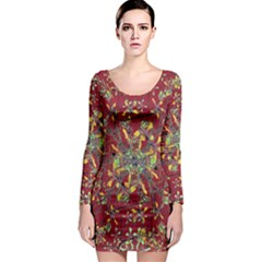 Colorful Oriental Floral Print Long Sleeve Bodycon Dresses by dflcprintsclothing