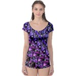 Blue purple Shattered Glass Short Sleeve Leotard