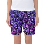 Blue purple Shattered Glass Women s Basketball Shorts