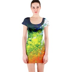 Abstract Landscape Short Sleeve Bodycon Dresses
