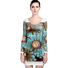Fall Flowers No  2 Long Sleeve Bodycon Dresses by timelessartoncanvas