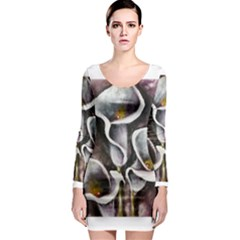 Gala Lilies Long Sleeve Bodycon Dresses by timelessartoncanvas
