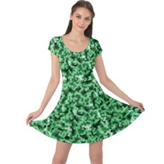 Green Cubes Cap Sleeve Dresses by timelessartoncanvas