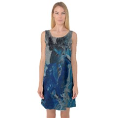 Blue Abstract Sleeveless Satin Nightdresses by timelessartoncanvas
