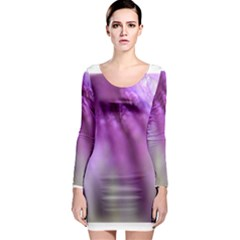 Purple Flower Pedal Long Sleeve Bodycon Dresses by timelessartoncanvas