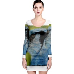 Blue Jay Long Sleeve Bodycon Dresses by timelessartoncanvas
