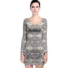 Oriental Geometric Floral Long Sleeve Bodycon Dresses by dflcprintsclothing