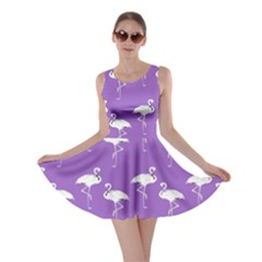 Flamingo White On Lavender Pattern Skater Dresses by CrypticFragmentsColors
