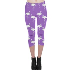 Flamingo White On Lavender Pattern Capri Leggings by CrypticFragmentsColors