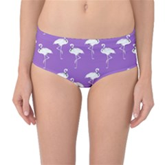 Flamingo White On Lavender Pattern Mid Waist Bikini Bottoms by CrypticFragmentsColors