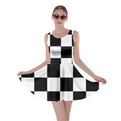 Checkered Flag Race Winner Mosaic Tile Pattern Skater Dresses by CrypticFragmentsColors