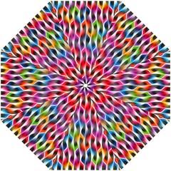 Rainbow Psychedelic Waves  Hook Handle Umbrellas (large) by KirstenStar