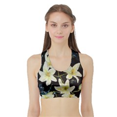 Bright Lilies Women s Sports Bra With Border by timelessartoncanvas