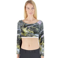 Black Ice Long Sleeve Crop Top by timelessartoncanvas