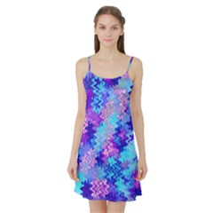 Blue And Purple Marble Waves Satin Night Slip by KirstenStar