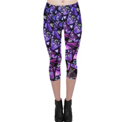 Blue Purple Glass Capri Leggings  by KirstenStarFashion