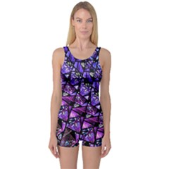Blue Purple Shattered Glass Women s Boyleg One Piece Swimsuits