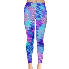 Blue And Purple Marble Waves Women s Leggings by KirstenStarFashion