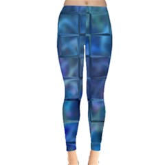 Blue Squares Tiles Leggings  by KirstenStarFashion