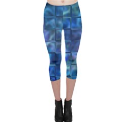 Blue Squares Tiles Capri Leggings  by KirstenStarFashion